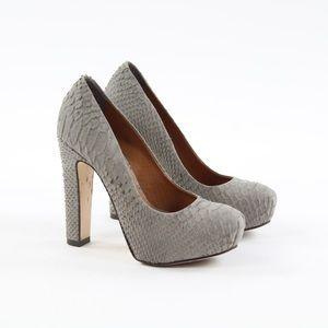 Pour Le Victoire Snakeskin Leather Pumps Heels 5.5